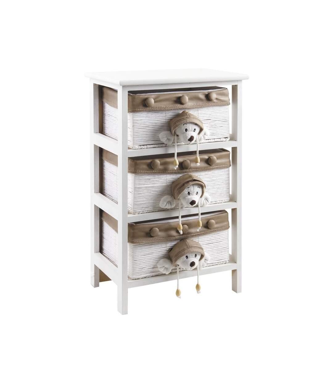 Commode enfant en bois blanc 3 tiroirs
