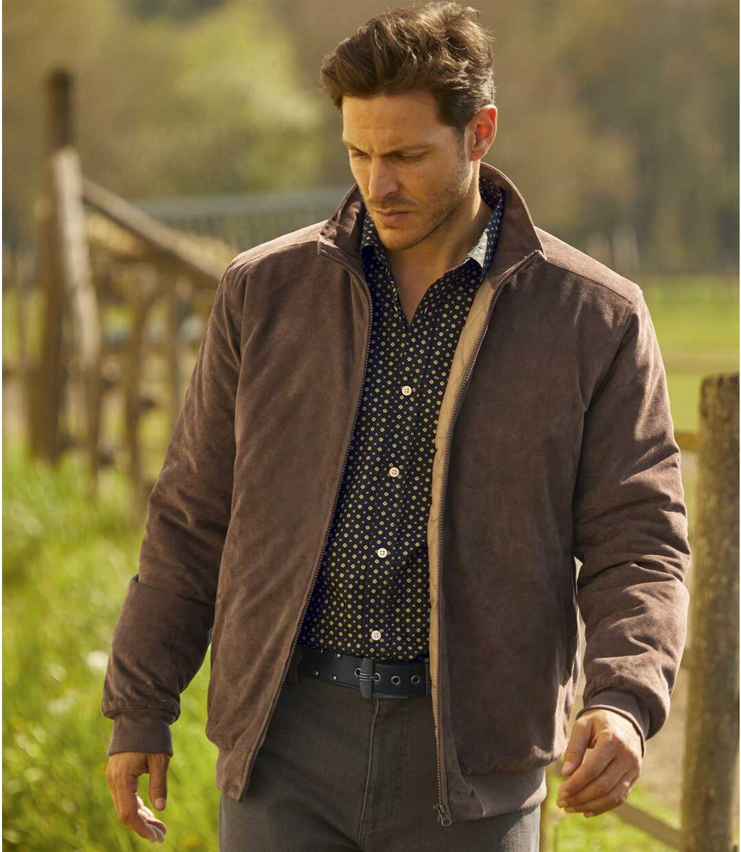 Men's Brown Faux Suede Full Zip Jacket