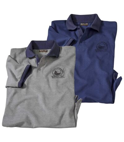 Pack of 2 Men's Short Sleeve Polo Shirts - Blue Grey
