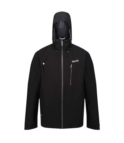 Regatta Mens Birchdale Waterproof Hooded Jacket (Black/Magnet) - UTRG3474