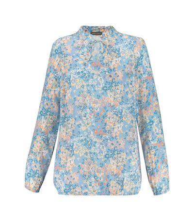 Blouse Gina Laura, imprimé floral, col à volants bleu clair NOUVEAU, mode féminine, moderne