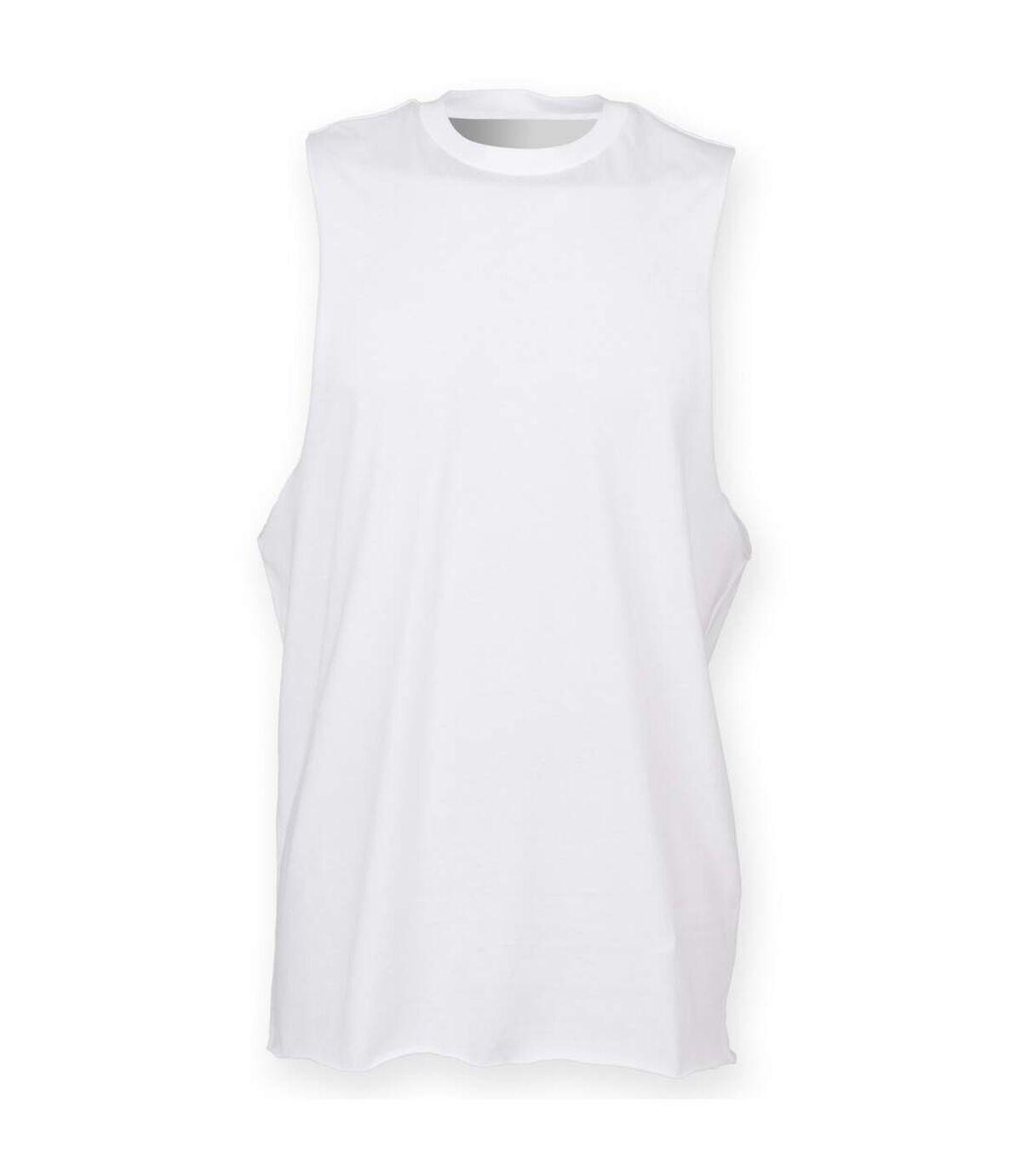 Skinnifit Mens High Neck Slash Armhole Vest (White) - UTRW4739