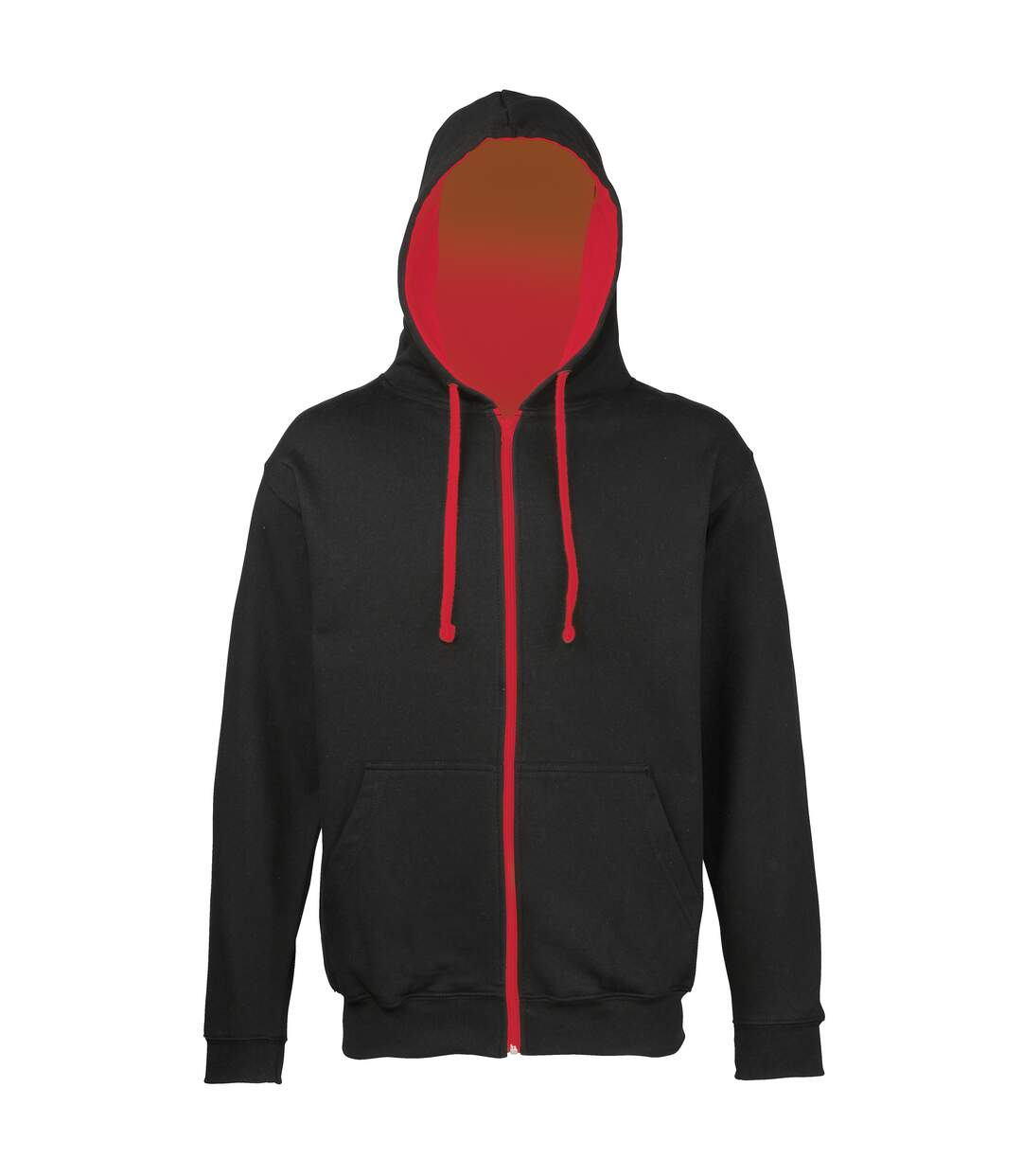 Awdis Mens Varsity Hooded Sweatshirt / Hoodie / Zoodie (Fire Red/Jet Black) - UTRW182