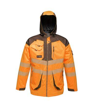 Regatta Mens Hi-Vis Waterproof Reflective Parka Jacket (Orange/Grey) - UTRG4536