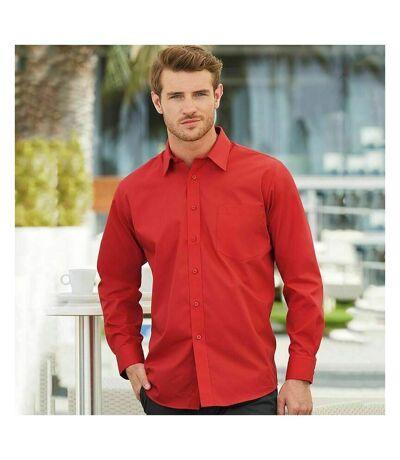 Fruit Of The Loom Mens Long Sleeve Poplin Shirt (Red) - UTBC405