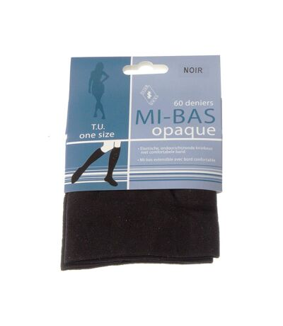 Mi bas - 1 paire - Unis simple - Opaque - Mat - Noir