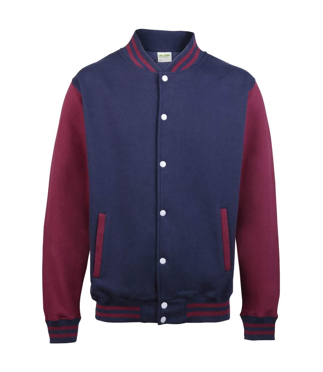 Awdis Unisex Varsity Jacket (Jet Black/ Fire Red) - UTRW175