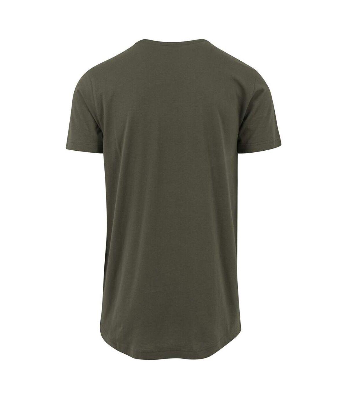 Build Your Brand Mens Shaped Long Short Sleeve T-Shirt (Olive) - UTRW5671