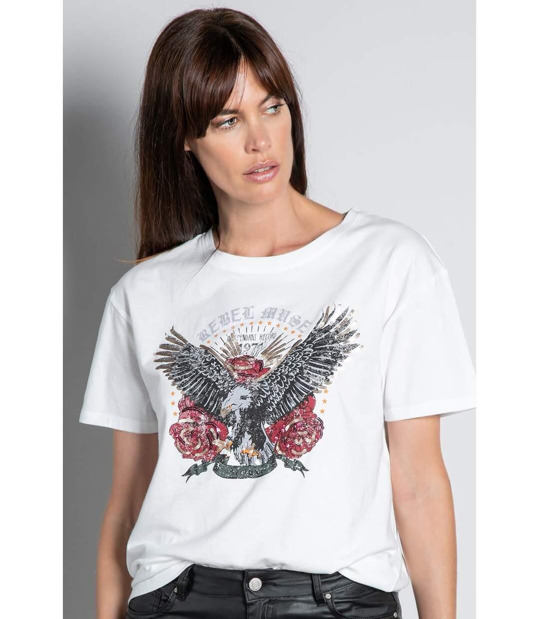 T-shirt avec aigle imprimé REBEL Off White