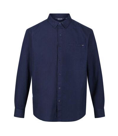 Regatta Mens Bard Coolweave Long-Sleeved Shirt (Navy) - UTRG5812