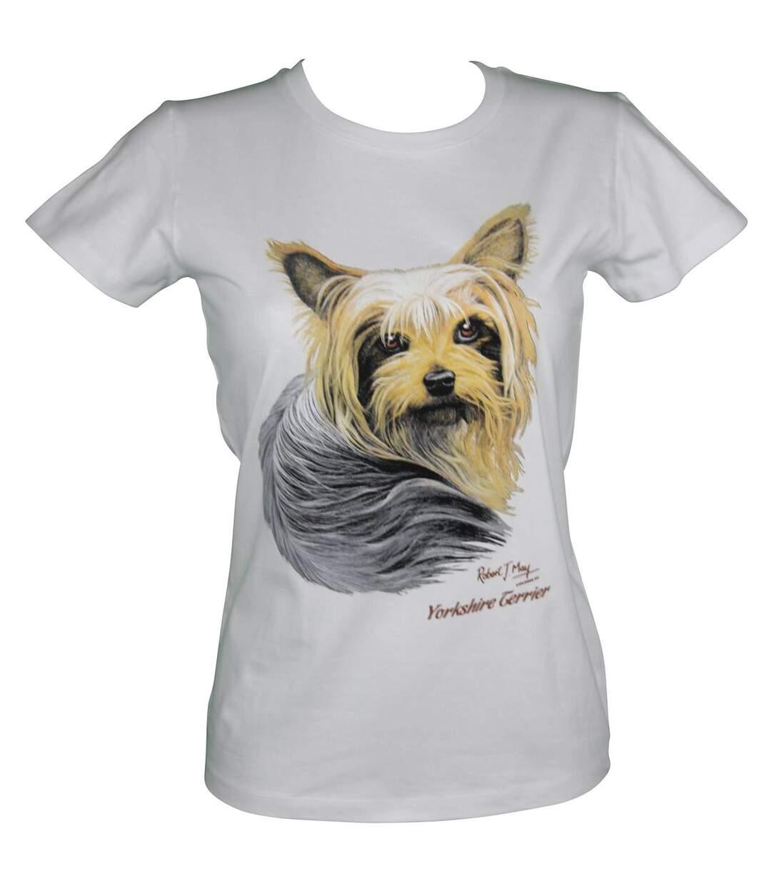 T-shirt femme manches courtes - chien yorkshire 13757 - blanc