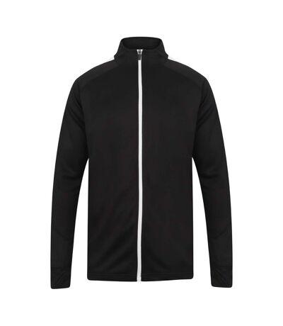 Finden & Hales Mens Knitted Tracksuit Top (Black/White) - UTPC3082