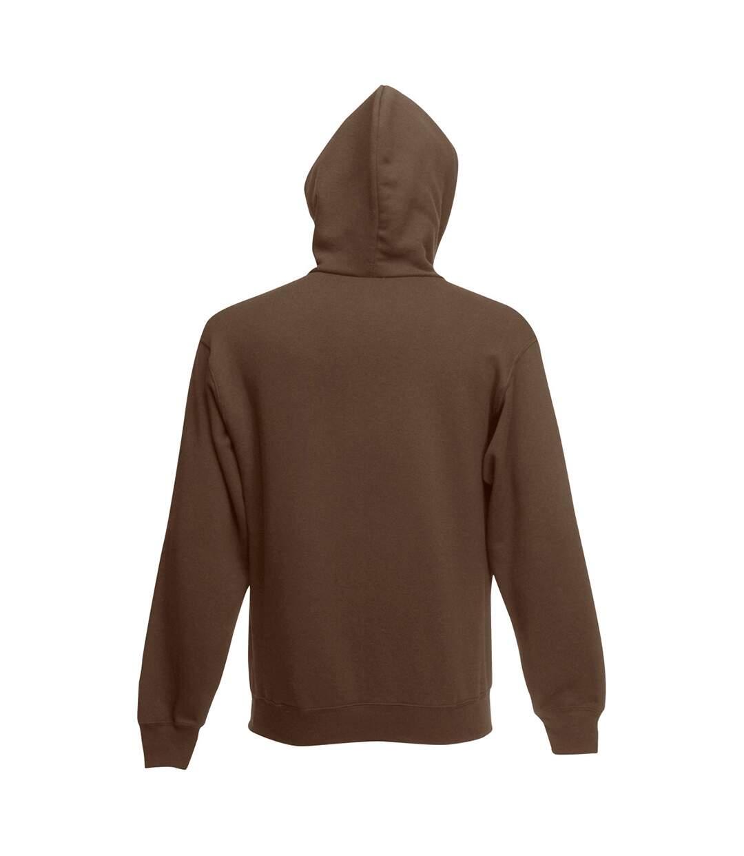 Fruit Of The Loom Mens Zip Through Hooded Sweatshirt / Hoodie (Chocolate) - UTBC360