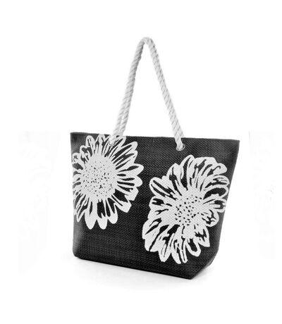 Sac cabas à imprimé floral (Noir) (Taille unique) - UTBAG176