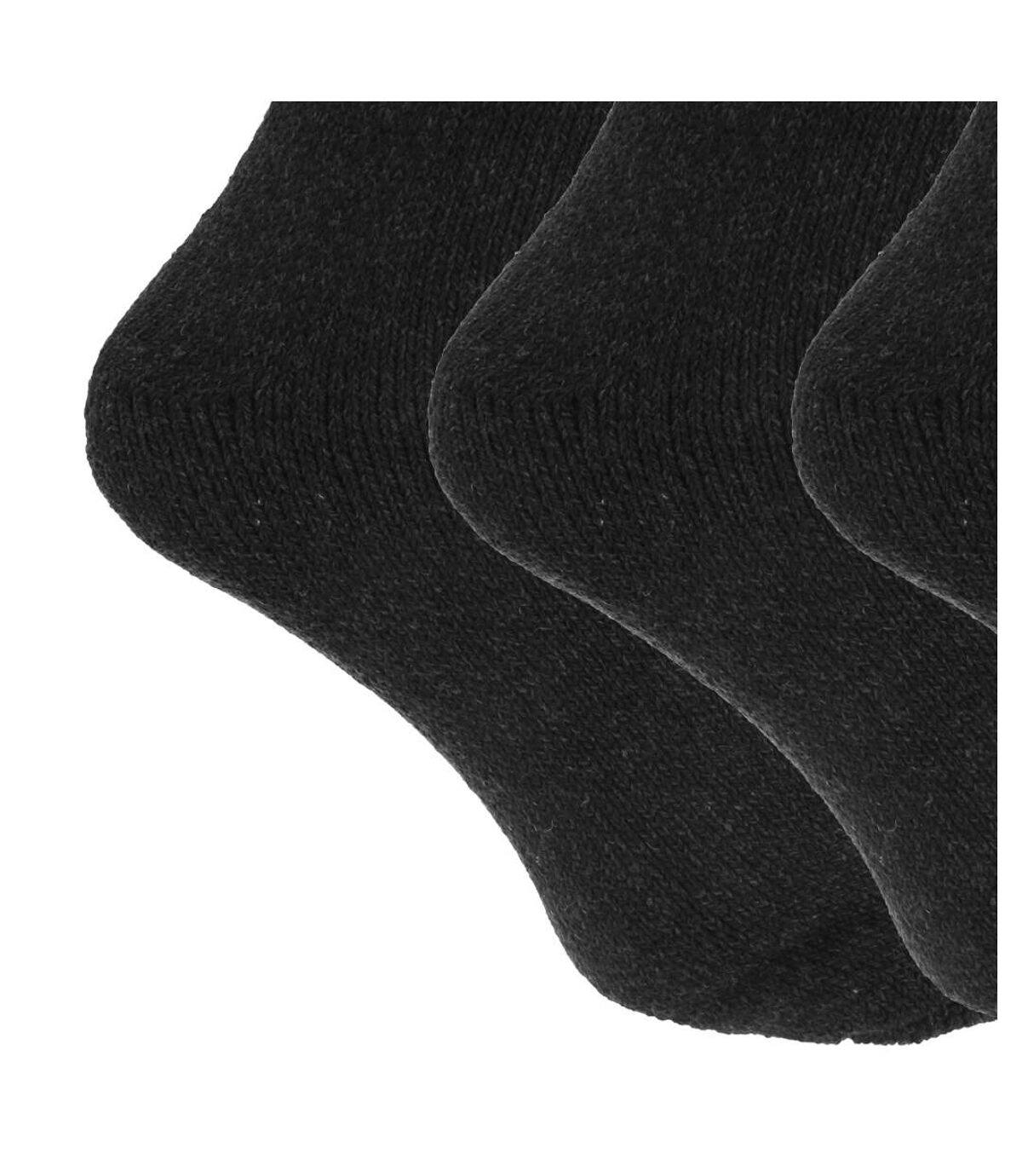 Mens Wool Blend Fully Cushioned Thermal Boot Socks (Pack Of 3) (Black) - UTMB430