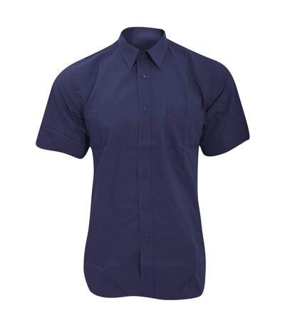 Fruit Of The Loom Mens Short Sleeve Poplin Shirt (Navy) - UTBC404