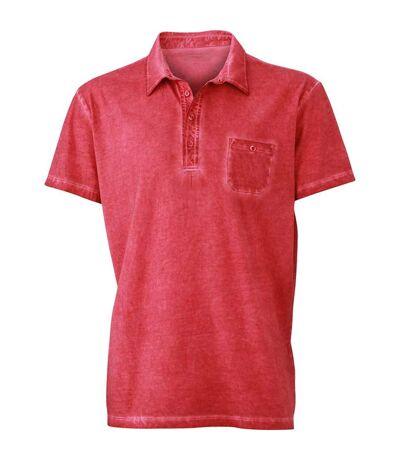 Polo style bohémien HOMME JN988 - rouge - impression spray