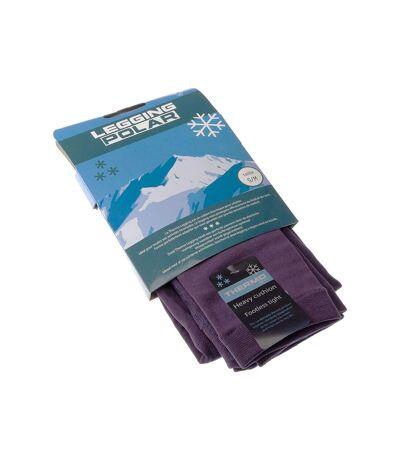 Legging chaud long - 1 paire - Unis simple - Ultra opaque - Mat - Gousset polyamide - Violet - Thermo Polar