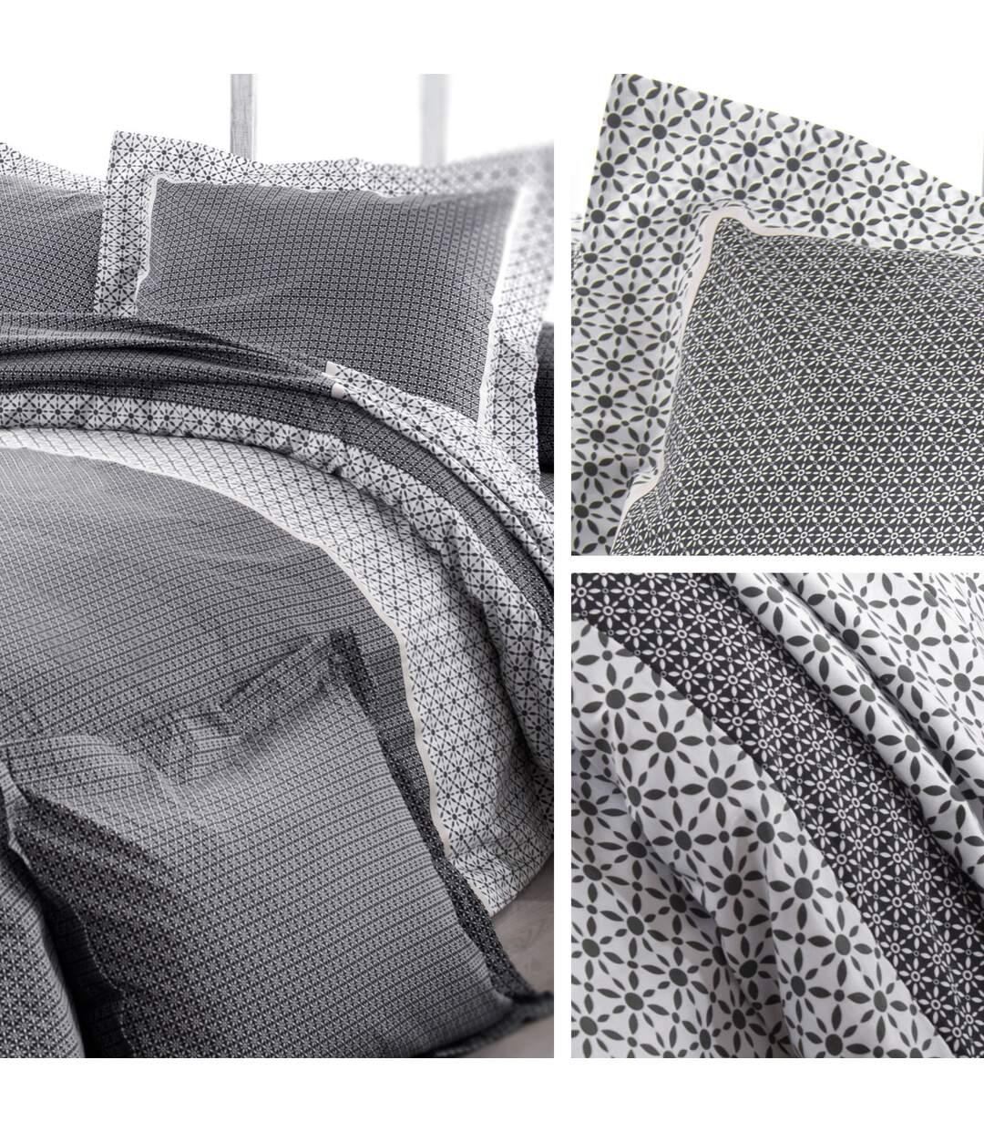 Parure de lit 140x200 cm satin de coton WESLEY gris noir 2 pièces