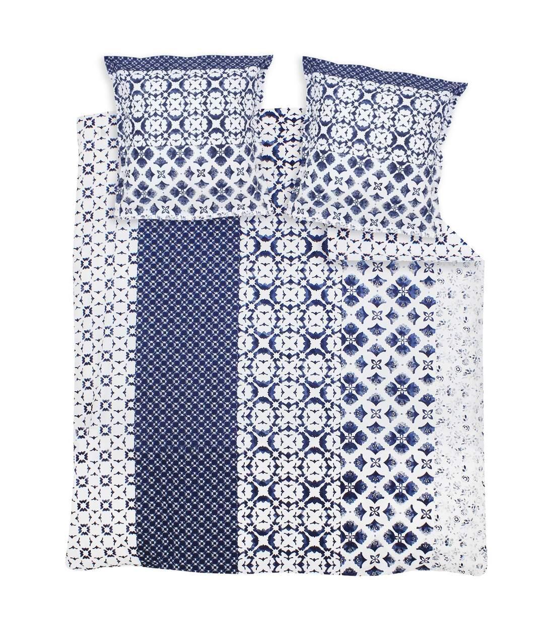 Parure de lit 240x220 cm 100% coton PADANG bleu 3 pièces