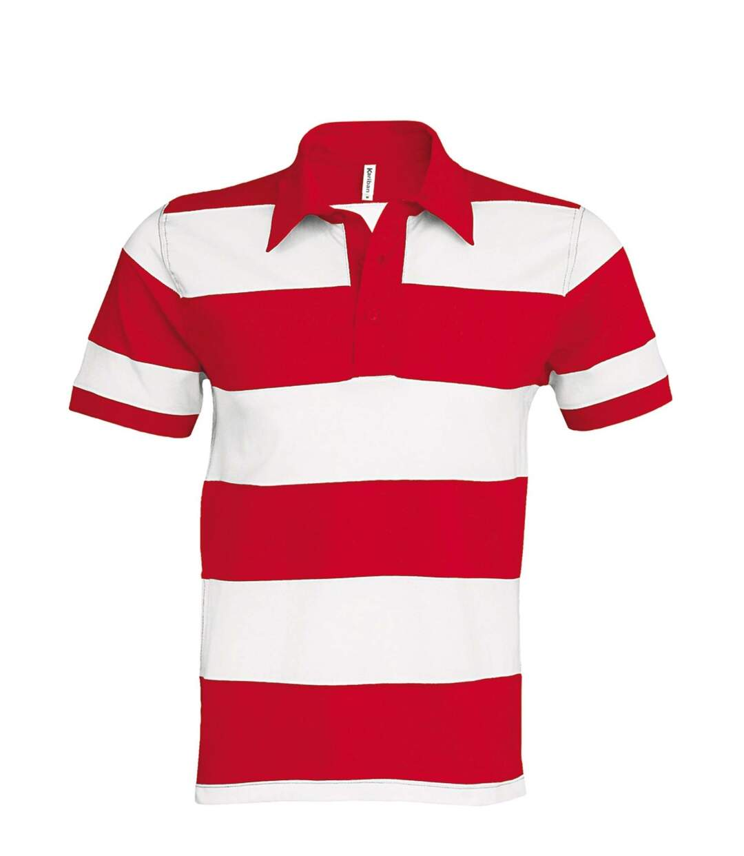 Polo homme rugby - K237 rayé rouge et blanc - manches courtes