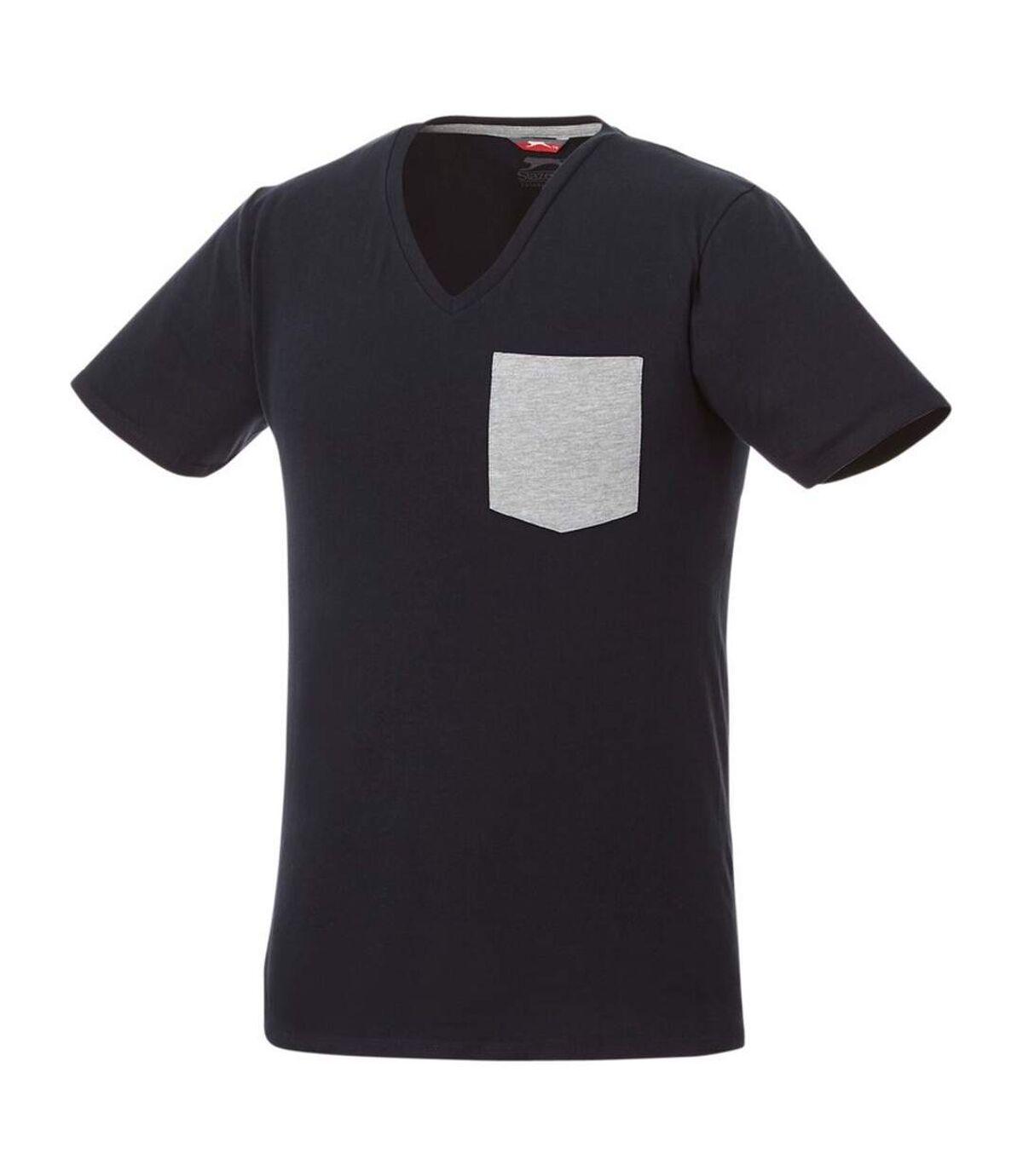 Slazenger Mens Gully Short Sleeve Pocket T-Shirt (Navy/Sport Grey) - UTPF2337