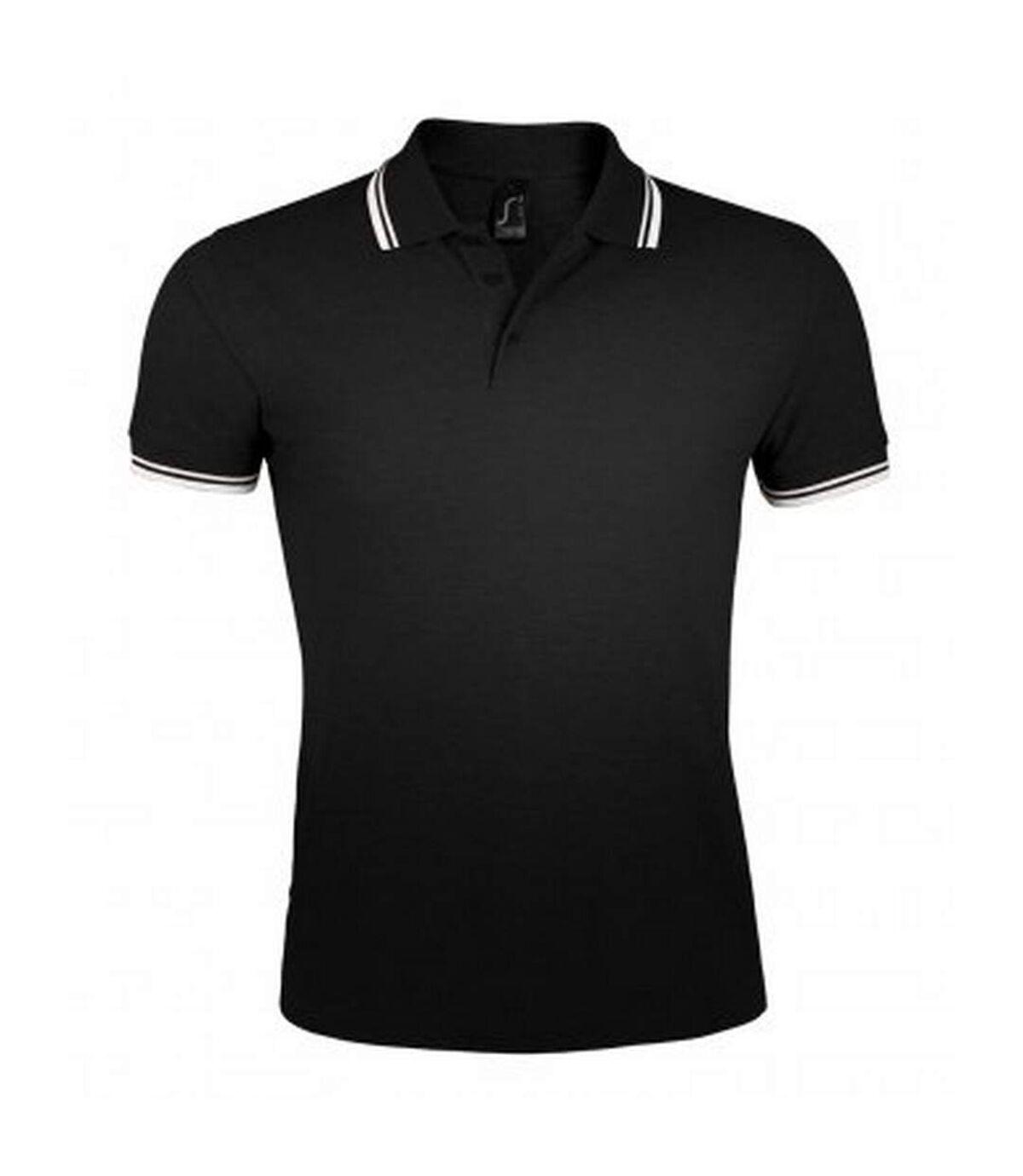 SOLS Mens Pasadena Tipped Short Sleeve Pique Polo Shirt (Black/White) - UTPC2431