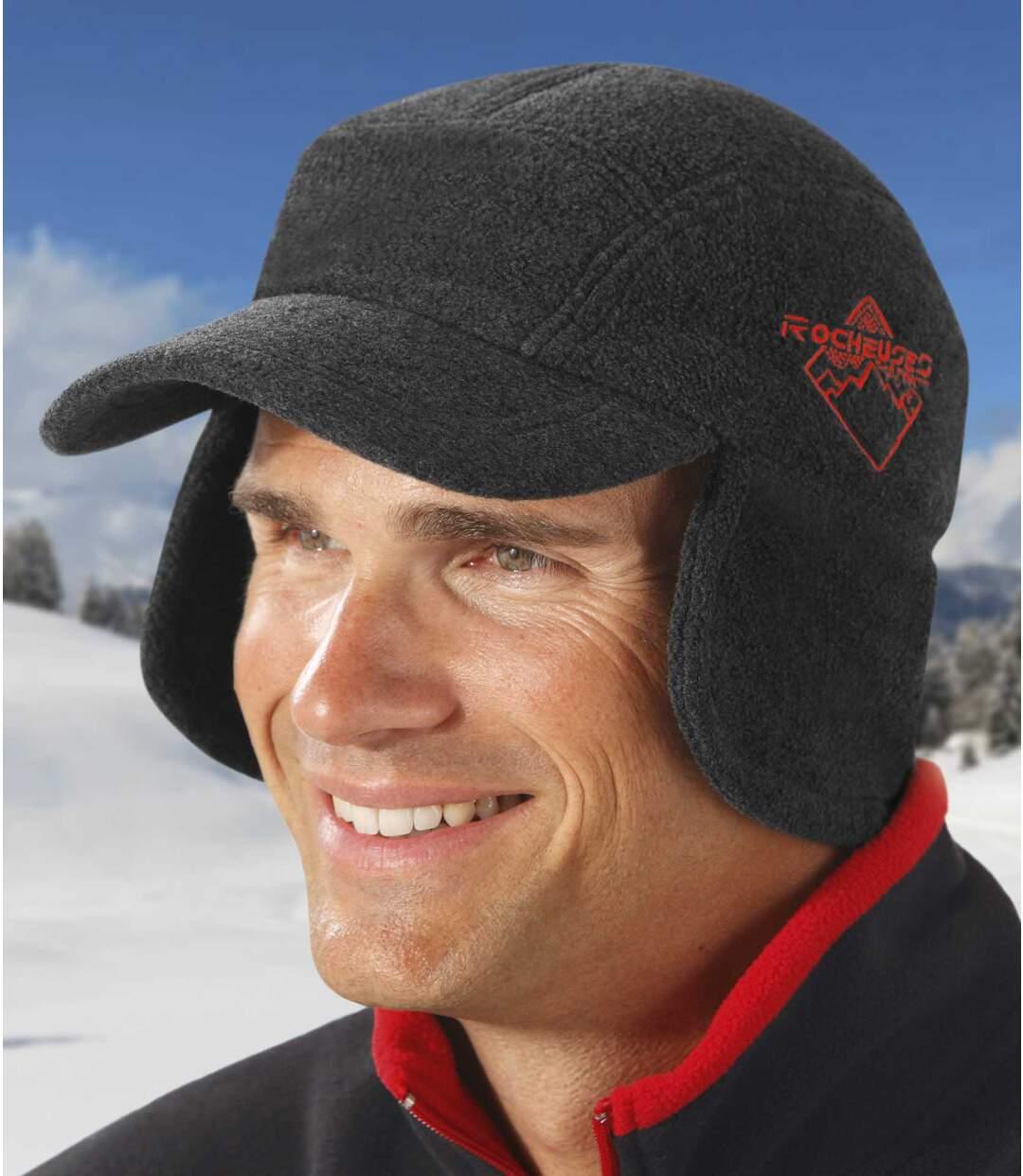 Men's Grey Cold-Proof Fleece Cap
