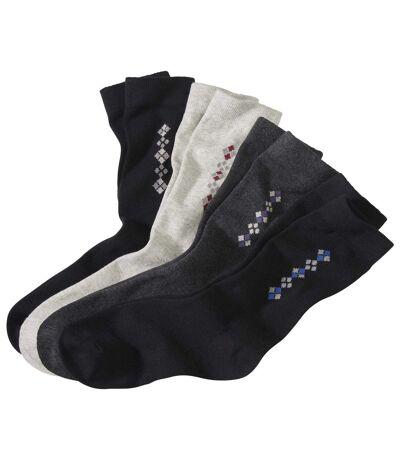 Pack of 4 Men's Jacquard Weave Socks - Black Anthracite Gray