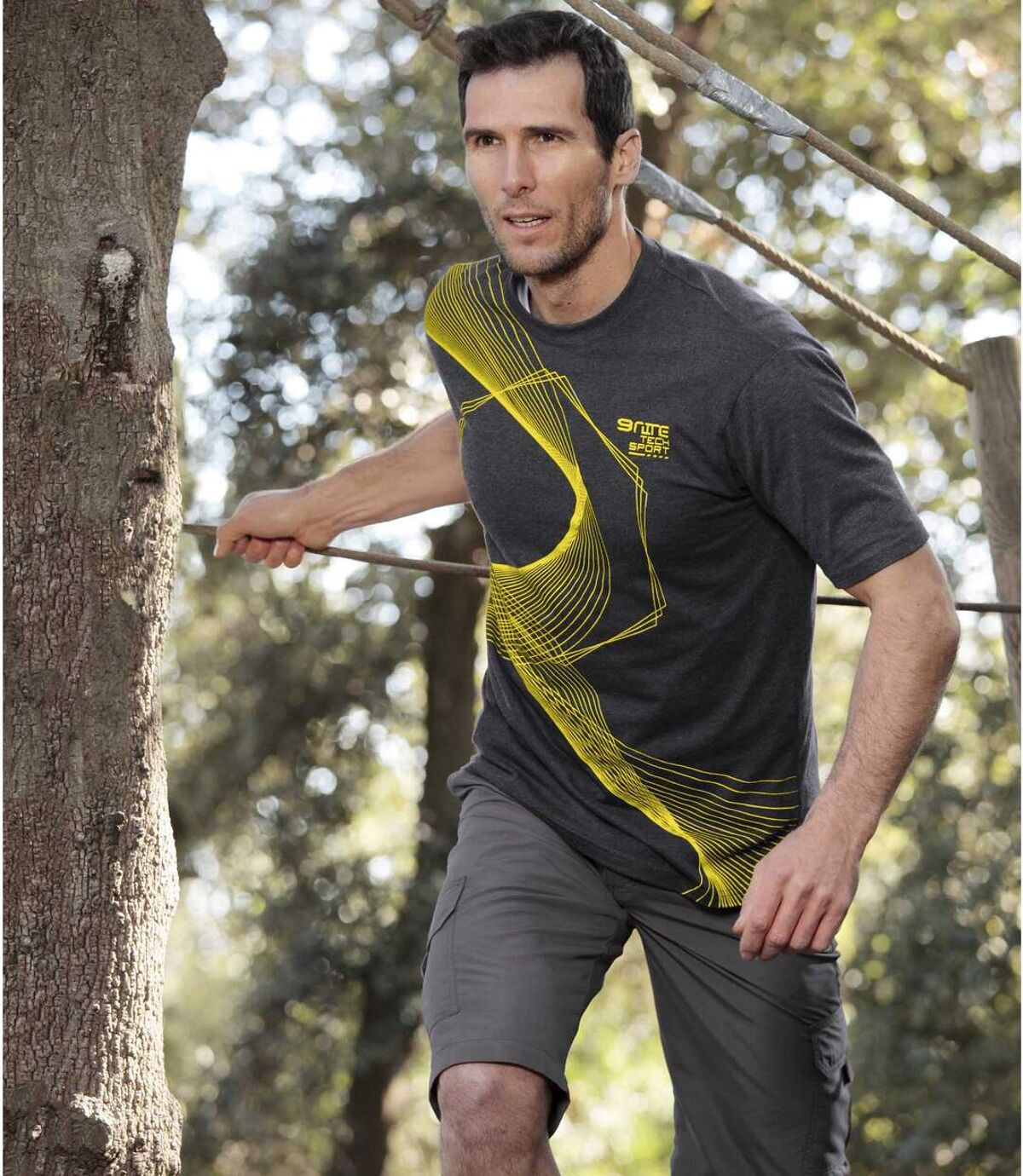 Pack of 2 Men's Sporty T-Shirts - Yellow Gray Atlas For Men