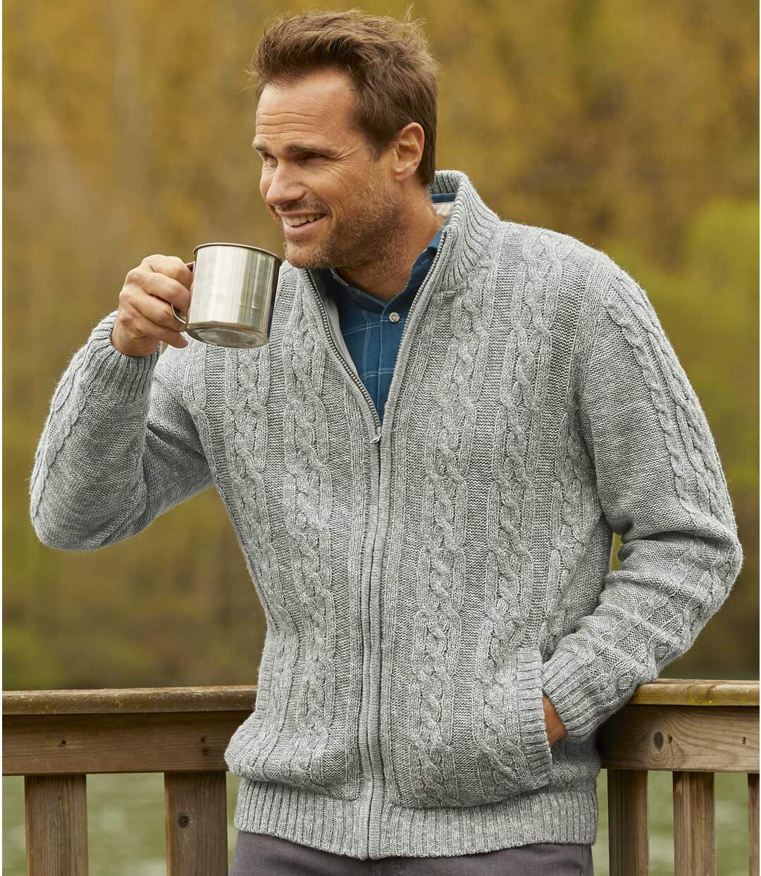 Men's Light Grey Fleece-Lined Knitted Jacket - Full Zip