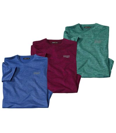 Pack of 3 Men's Sporty T-Shirts - Burgundy Blue Green