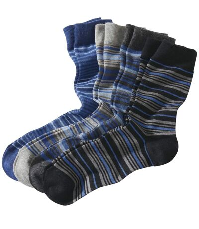 Pack of 4 Pairs of Men's Striped Socks - Black Navy Anthracite Grey