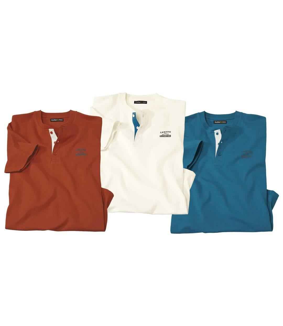 Zestaw 3 t-shirtów z dekoltem z guzikami Atlas®