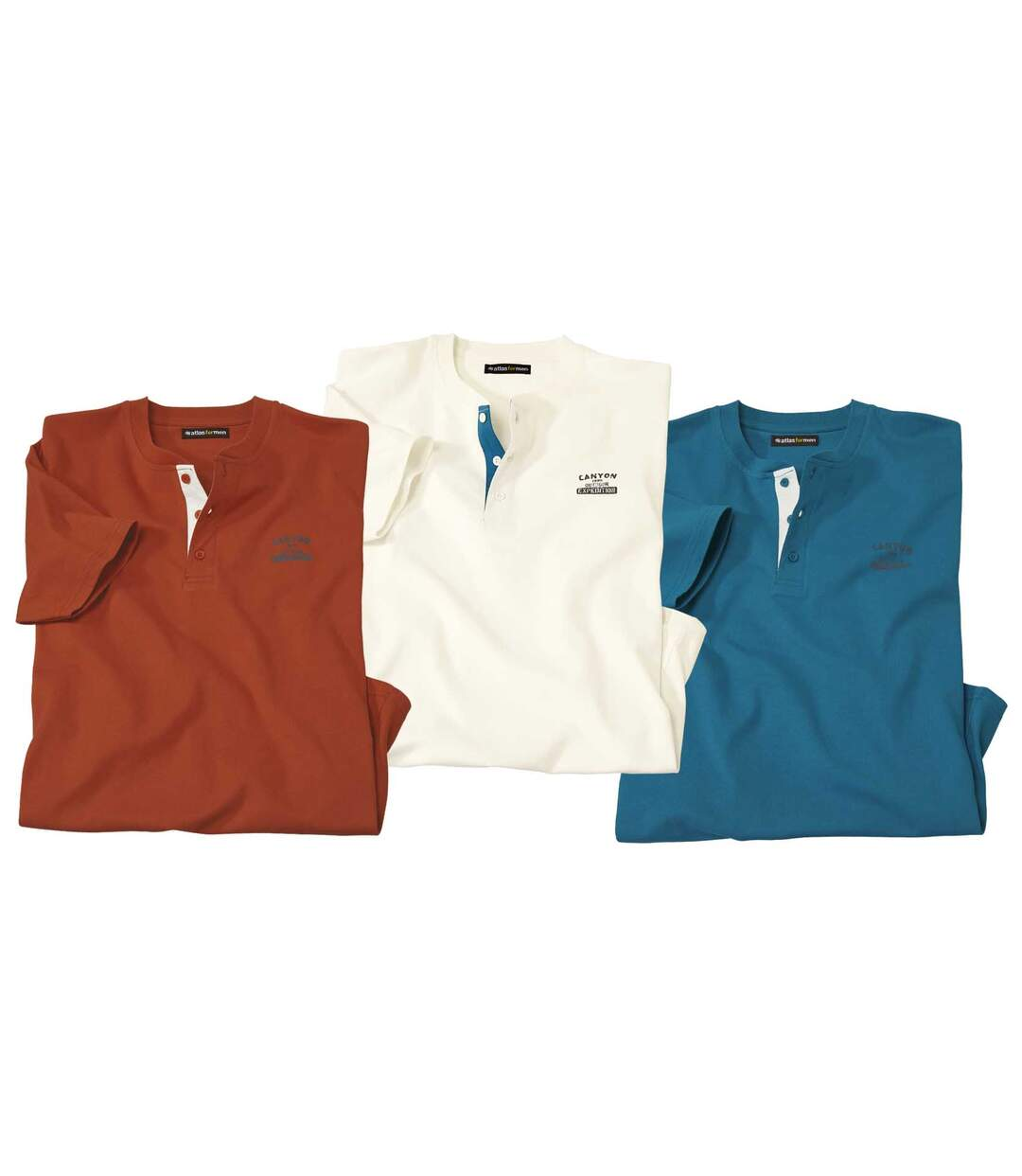 Sada 3 triček Atlas® s knoflíčkovým zapínáním u krku