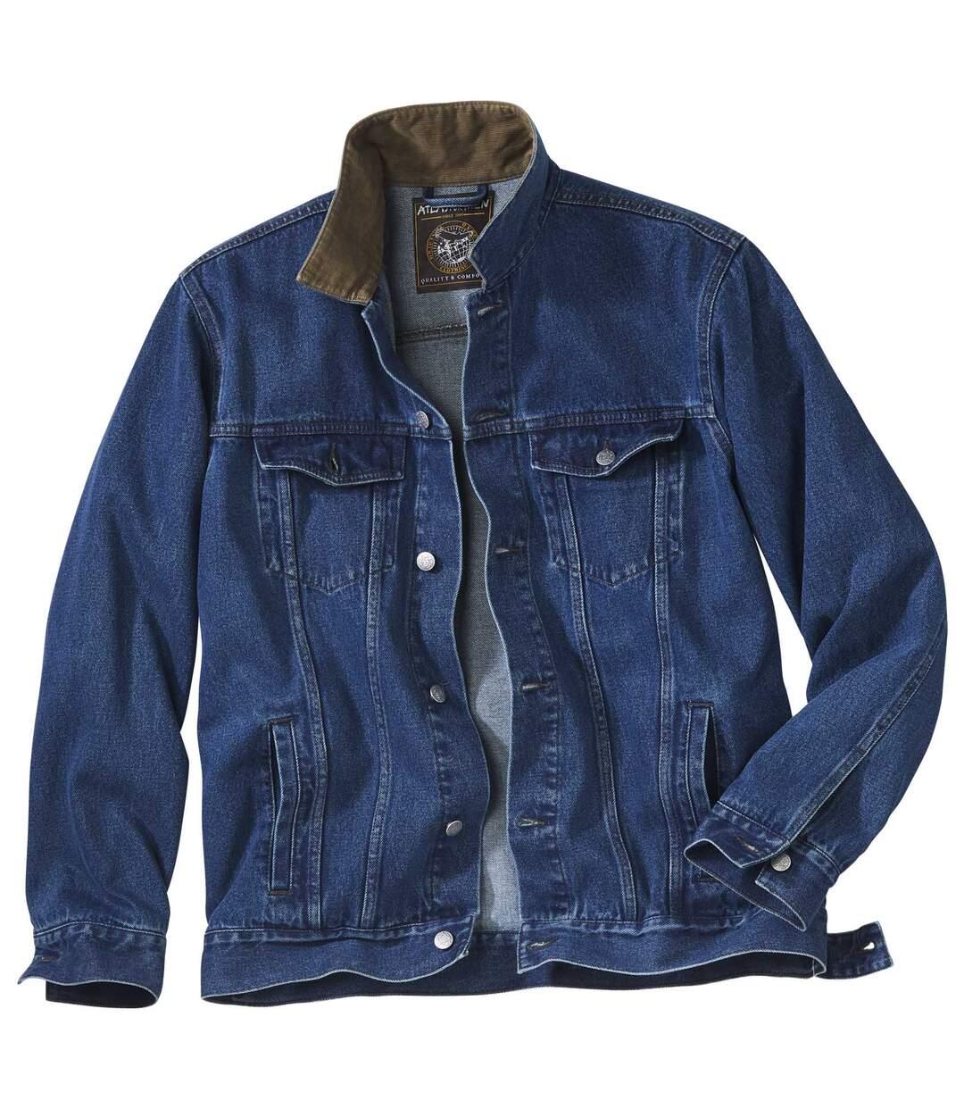 Jeansjacke mit Kordkragen