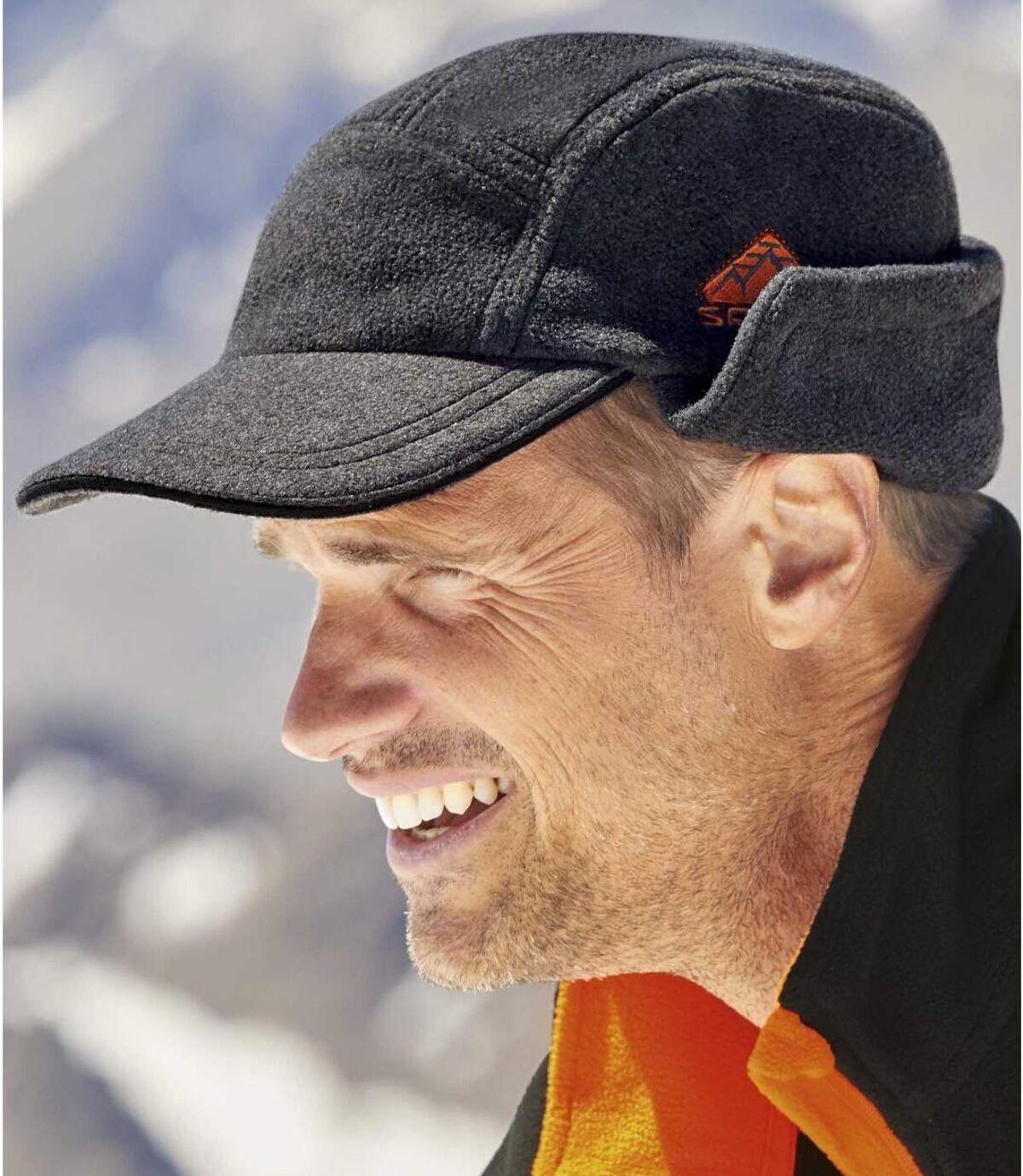 Men's Gray Fleece Cap with Ear Flap - Water-Repellent Atlas For Men