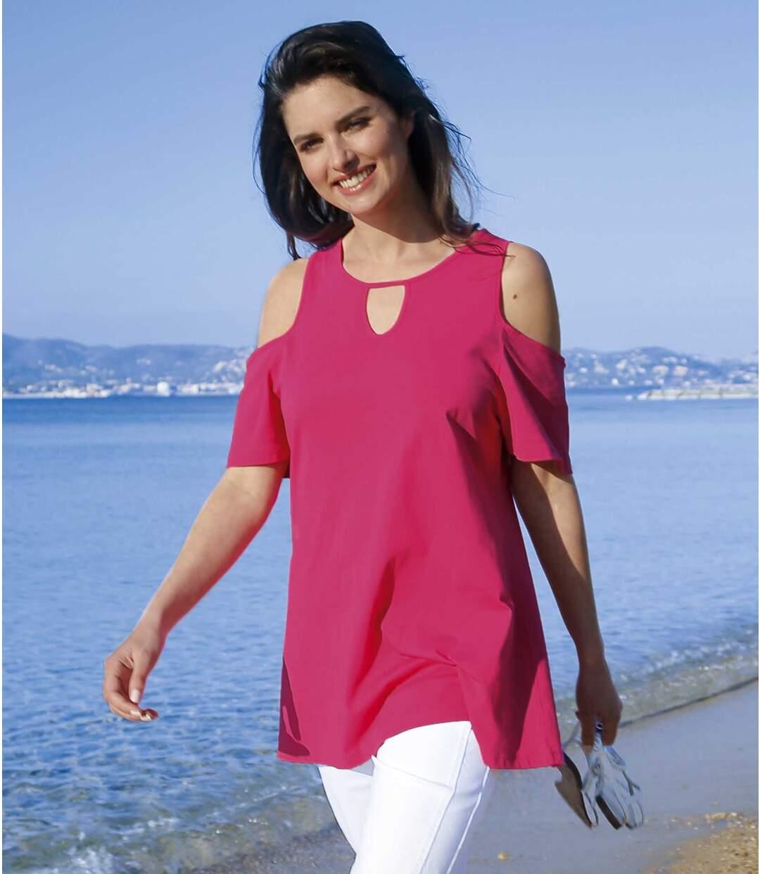 Women's Pink Pretty Cold Shoulder Top
