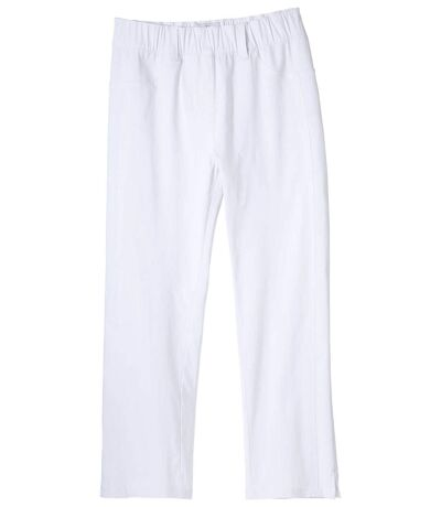 Women's White Stretch Cropped Trousers