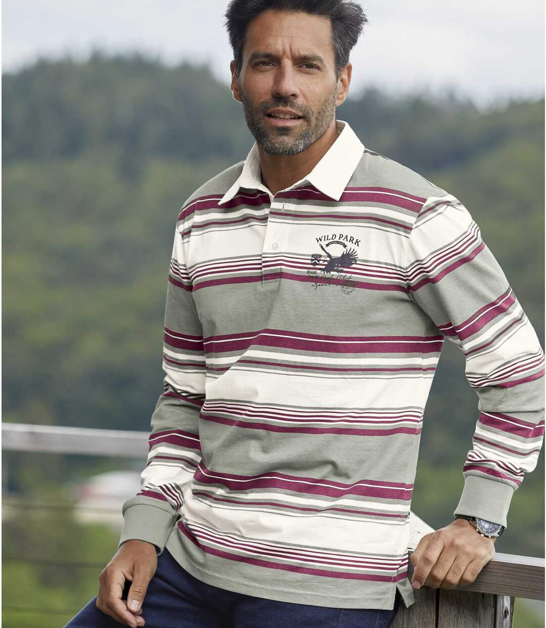 Poloshirt Sport Club im Rugby-Stil