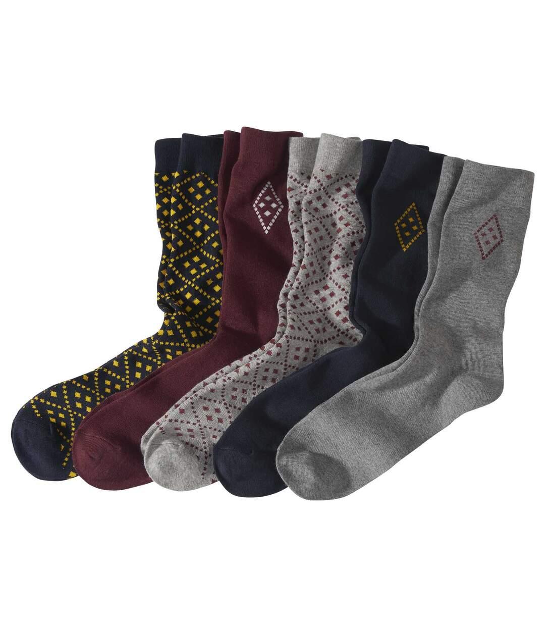 Sada 5 párů barevných ponožek