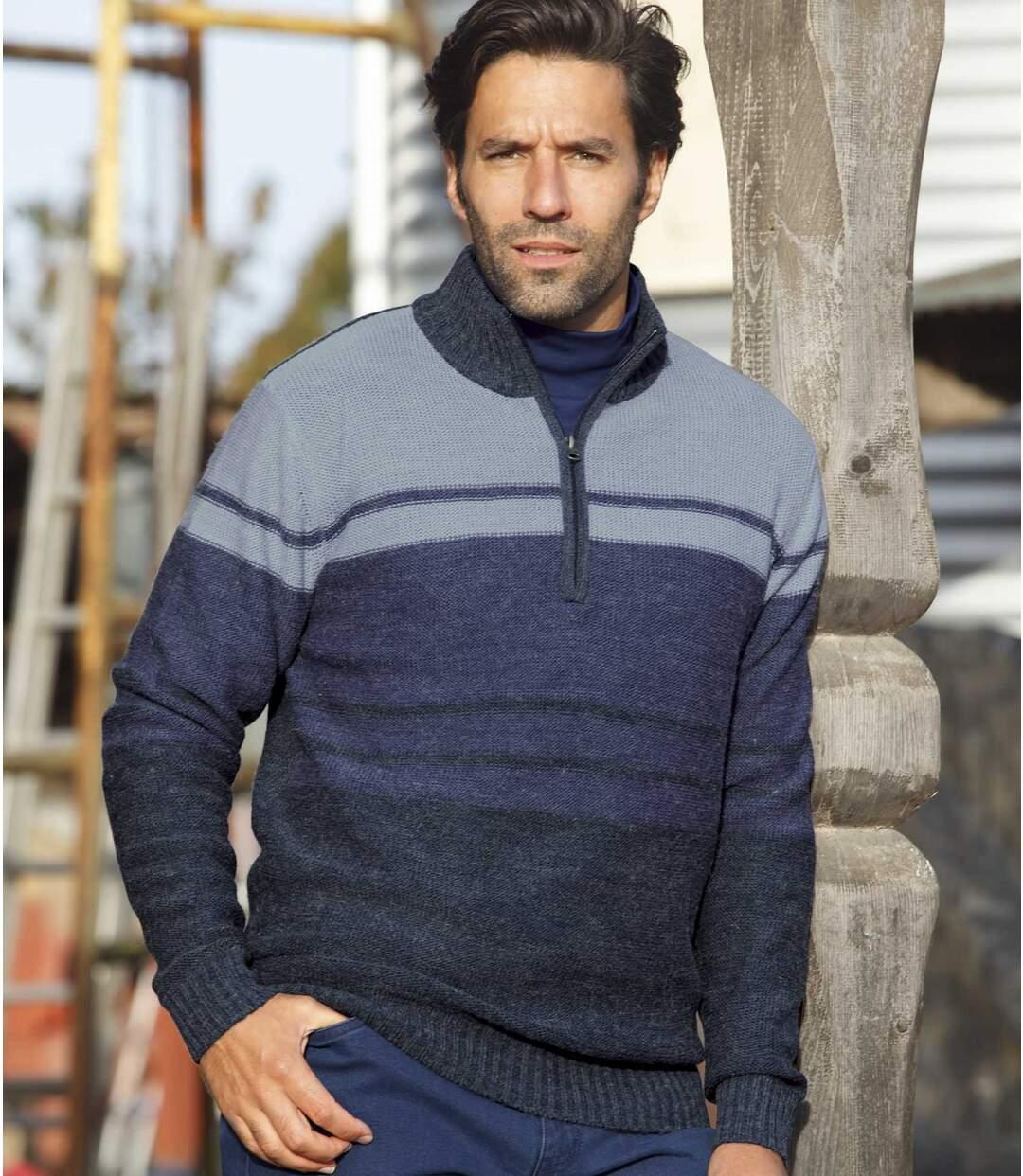 Pullover mit RV-Kragen