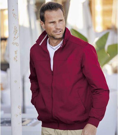 Men's Burgundy Twill Jacket - Water-Repellent - Full Zip