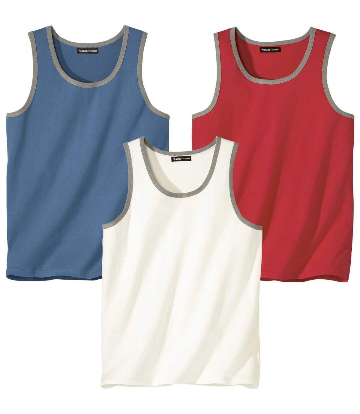 Pack of 3 Classic Men's Tank Tops - Red Blue White Atlas For Men