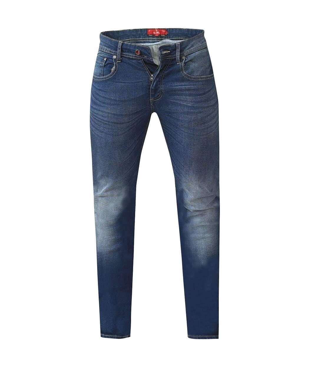 Duke Mens Ambrose King Size Tapered Fit Stretch Jeans (Vintage Blue) - UTDC180