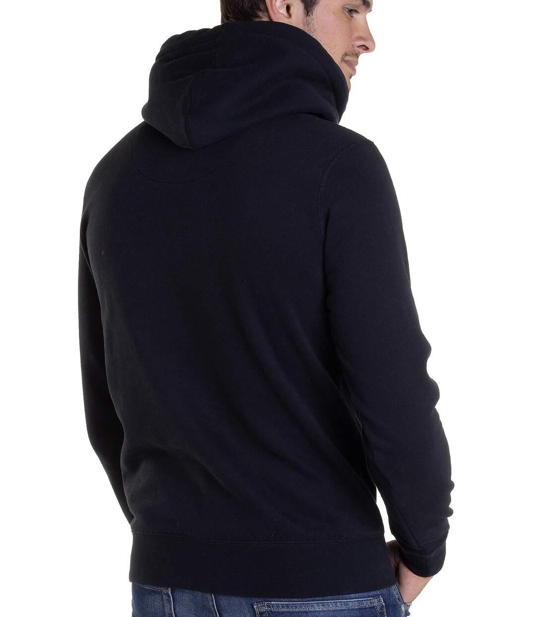 Sweat molleton noir imprimé effet craquelé vintage SWH205 à capuche