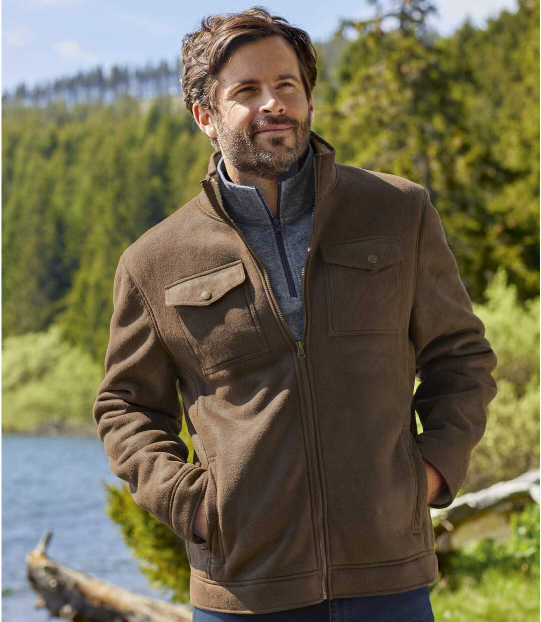 Men's Brown Sherpa-Lined Faux Suede Jacket - Full Zip