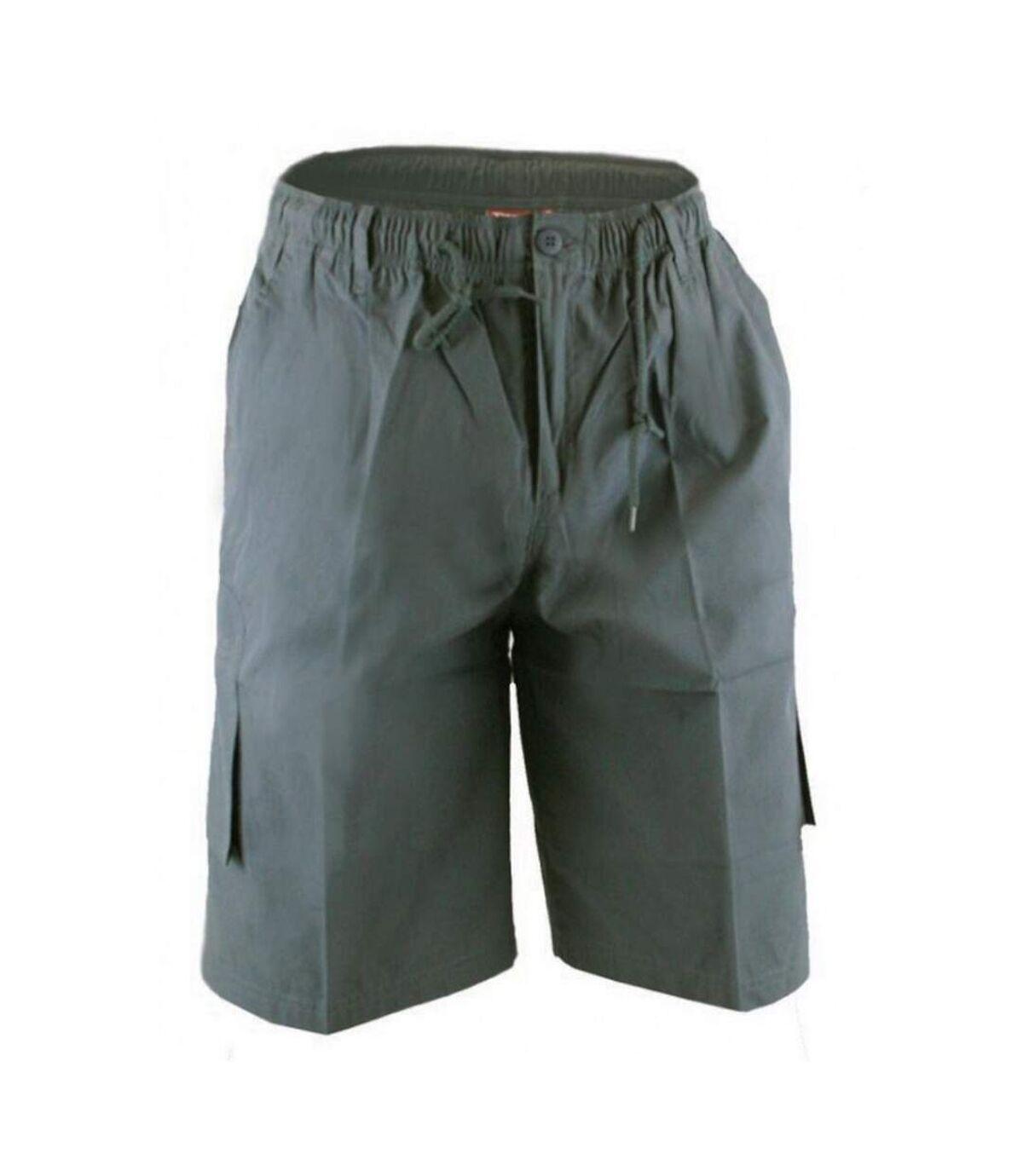 Duke Mens Nick D555 Elasticated Waist Cargo Shorts (Grey) - UTDC224