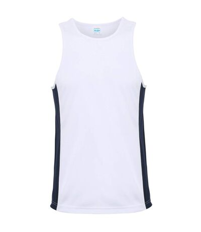 AWDis Just Cool Mens Contrast Panel Sports Vest Top (Arctic White/French Navy) - UTRW3476