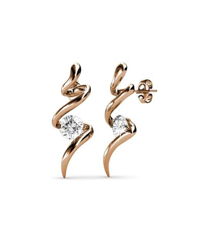 Boucles d'oreilles Spiral - Or Rosé et Cristal